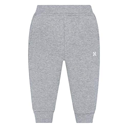 Hurley Baby Boys Fleece Jogger Pants, Dark Grey Heath, 18M]()