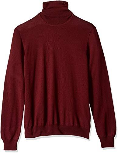 J.Lindeberg Men's Merino Wool High Neck Sweater, Zinfandel, X-Large