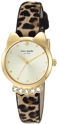 kate spade new york Women's 'Cat Shaped Case' Quartz Stainless Steel and Leather Casual Watch, Color:Brown (Model: KSW1369) (Stainless Steel Case Shaped)