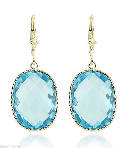 14K Yellow Gold Handmade Gemstone Earrings With Large Oval Blue Topaz Gemstones by amazinite