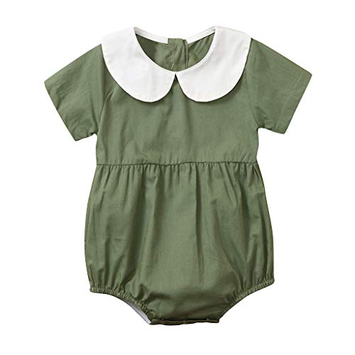 (Lanhui Infant Girl Peter Pan Collar Solid Romper Bodysuit Clothes Summer Cool Outfits Green)