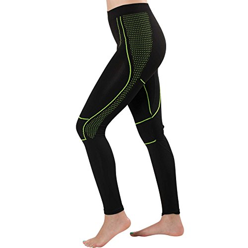 Athletic Tights – Advanced Lightweight Compression Workout Leggings – Good for Running, Working Out, Basketball, Sports (Large, Black/Neon Yellow)