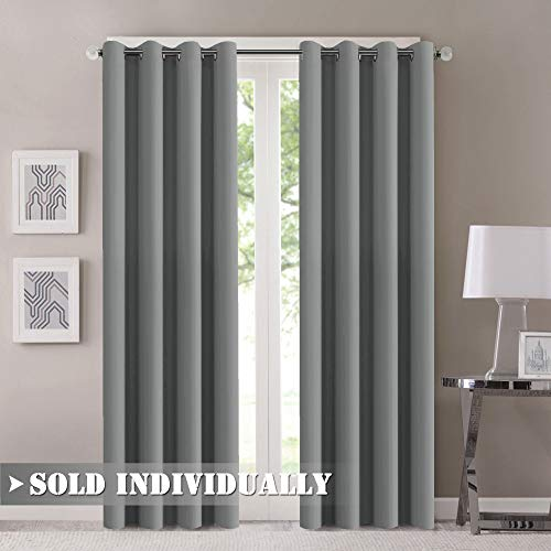 (Flamingo P Blackout Grey Curtain Panels 84 Inches Long Room Darkening Blackout Drapes for Bedroom/Living Room Solid Grommet Energy Efficient Window Draperies 52x84 Inch,1 Panel - Dove Gray)