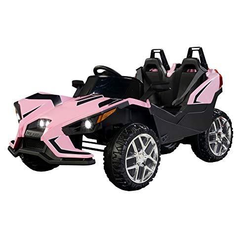 (Uenjoy 2 Seats Kids Car 12V Ride On Racer Cars w/Remote Control,Spring Suspension Wheels,4 Speeds,LED Lights,Music,Pink)