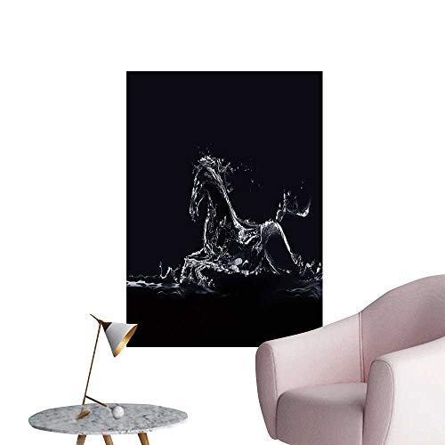 SeptSonne Wall Stickers for Living Room a Runn Horse Made Water on Black backgroun Vinyl Wall Stickers Print,24