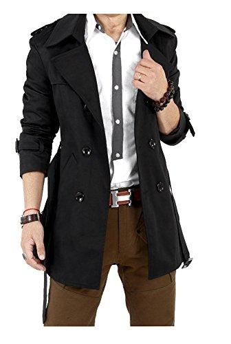 トレンチコート メンズ スプリングコート ベーシック アウター デザイン メンズコート 厚着 防寒 防風 (Nail39)