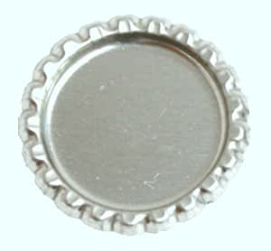 100 Flattened Chrome Bottle Caps Silver Bottlecaps Flat
