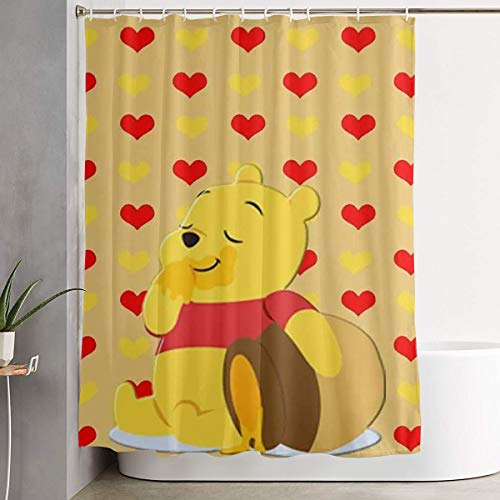 LIUYAN Shower Curtain with Hook - Pooh Bear Bears Waterproof Polyester Fabric Bathroom Decor 60 X 72 Inches