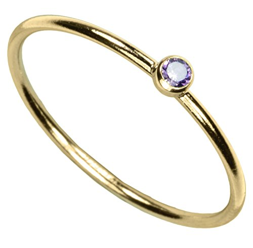 Light Amethyst Cubic Zirconia Ring - uGems 14kt Gold Filled Light-Amethyst-Color CZ Stacking Ring Size 7