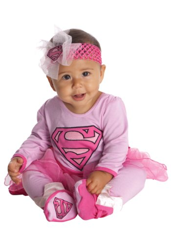 Sibling Girl Costumes (DC Comics Supergirl Onesie And Headpiece, Pink, 0-6 Months)