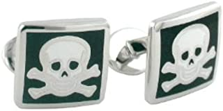 product image for David Donahue Men's Sterling Silver Skull and Cross Bones Cufflinks (CL059802)
