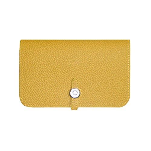 WTUS Mujer Cartera De Cuero De Pasaportes De Paquetes De Gran Capacidad De Sacar El Monedero De Cuero De Lichi amarillo