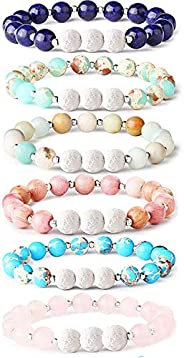 Thunaraz 6Pcs Lava Rock Stone Aromatherapy Essential Oil Diffuser Bracelet for Women Girls Natural Gemstone He