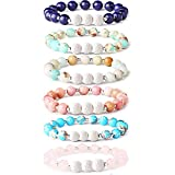 Thunaraz 6Pcs Lava Rock Stone Aromatherapy Essential Oil Diffuser Bracelet for Women Girls Natural Gemstone Healing Crystal Bracelet