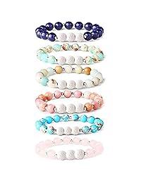 Thunaraz 6Pcs Lava Rock Stone Aromatherapy Essential Oil Diffuser Bracelet for Women Girls Natural Gemstone Healing Crystal Bracelet