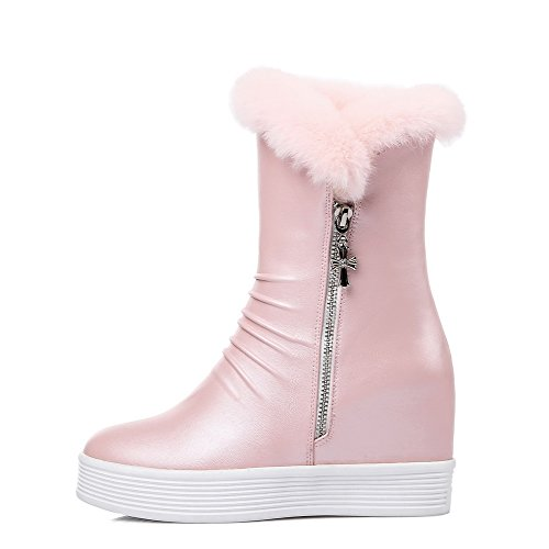 Allhqfashion Mujeres Round Closed Toe Low-top High-heels Solid Pu Botas Rosa