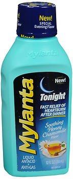 Mylanta Tonight Liquid Antacid + Anti-Gas Soothing Honey Chamomile Flavor - 12 oz, Pack of 2