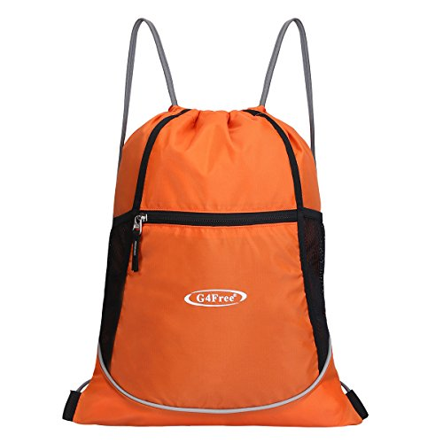 g4free-water-repellent-gymbag-large-drawstring-sackpack-sports-backpack-with-practial-pockets-orange