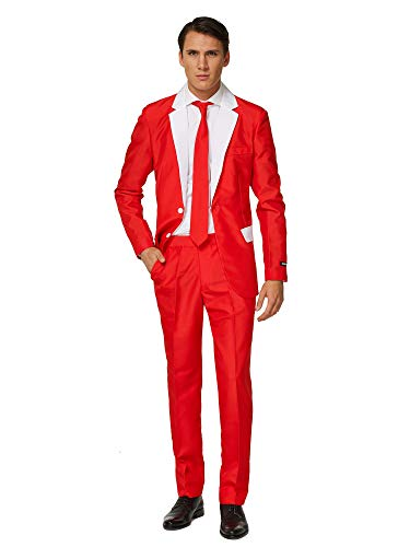 Suitmeister Christmas Suits for Men - Santa Outfit - Ugly Xmas Sweater Costumes Include Jacket Pants & Tie - M