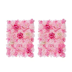 Fenteer Pack of 2 Simulation Silk Flower Wall Panel Mat for Wedding Studio Backdrop Venue Decorations Light Pink and Deep Pink 6