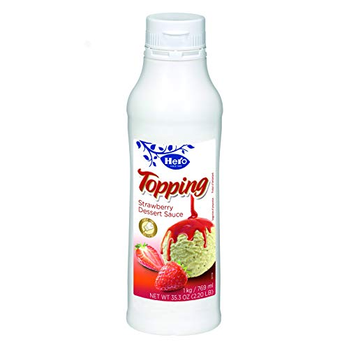 Hero Strawberry Dessert Sauce Topping 1 Kilogram  6 per case