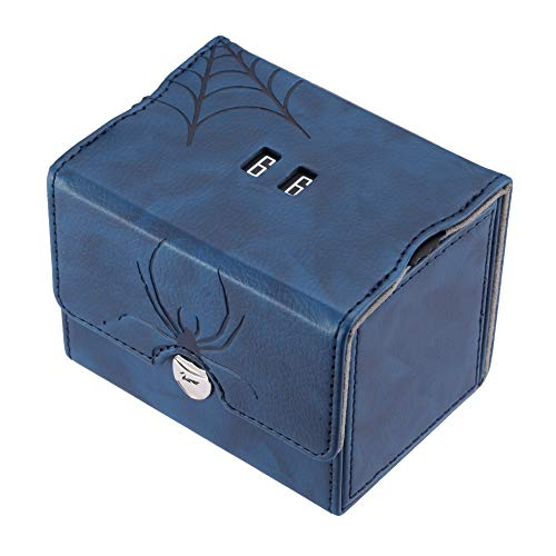 Zoopin Leather Deck Box with Built-in Spinning Life Counter, Blue for MTG,Yugioh,Pokeman,TES Legacy,Munchkins CCG Decks and Also Small Tokens or Dice- Hold 80 Sleeved Cards or 150 Naked Cards ...
