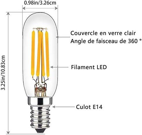 Bombilla para Campana de Cocina, E14 Regulable, Bombilla de Filamento LED T25 de 4 W, Equivalente a 40 W, Luz Blanca Cálida Suave 2700 K, Rosca Edison Pequeña, 2pack: Amazon.es: Iluminación