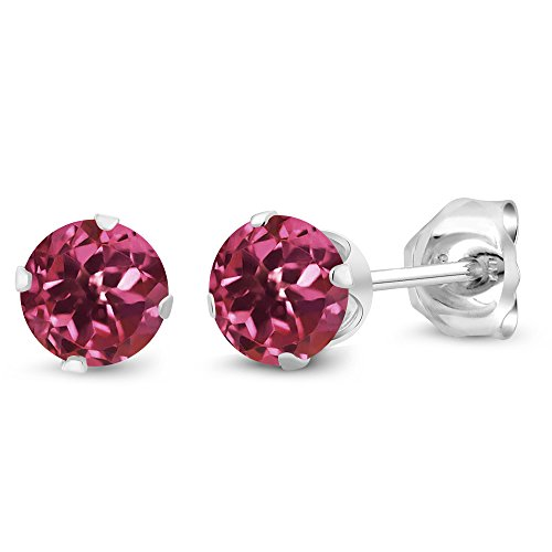 (Gem Stone King Pink Tourmaline Gemstone 925 Sterling Silver Stud Earrings (0.48 Cttw, 4MM Round))