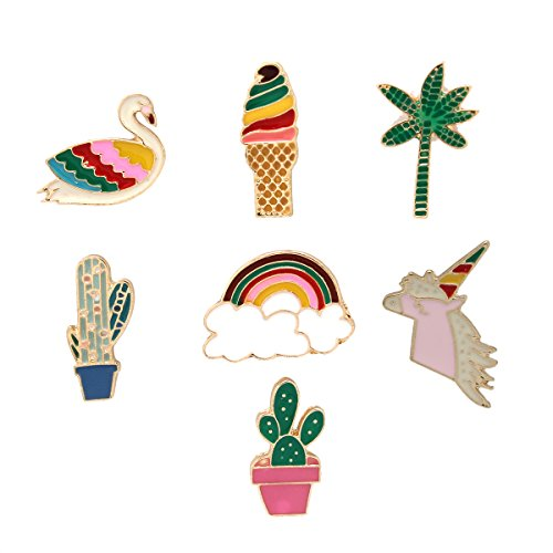 MeliMe Cute Cat Animal Floral Fruits Enamel Brooch Pins Cartoon Lapel Pins Lovely Badge for Women Kids Clothing Decoration (Swan horse Rainbow set of 7)
