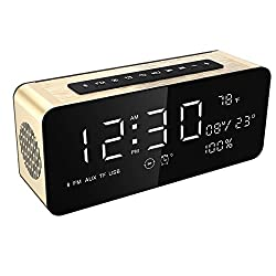 Soundance Electric Digital LED Alarm Clock Wireless FM Radio Portable Speaker with USB Built-in Microphone for Bedroom Bedside Office Desk PC Laptop Desktop Computer, A10 Gold