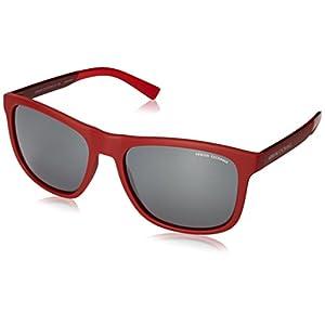 Armani Exchange Men's Injected Man Square Sunglasses, Matte Tango Red, 57 mm