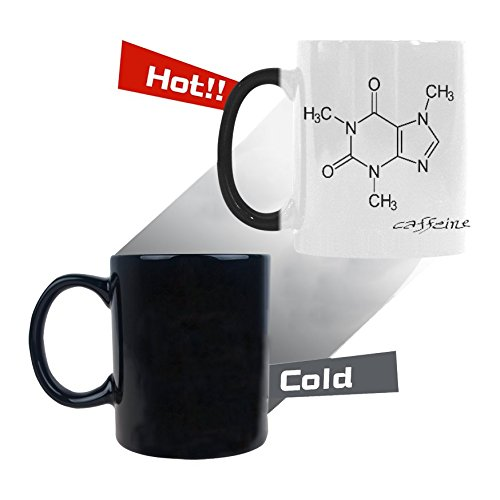 InterestPrint Caffeine Molecule Chemistry 11oz Heat Sensitive Color Changing Morphing Coffee Mug Tea Cup Travel, Funny Unique Halloween Birthday Thanksgiving Gift for Men Women Him Her (Halloween Birthday Gifts For Her)