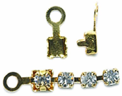 Shipwreck Beads Brass End Finding with Loop, Metallic, Gold, 150-Pack - Rhinestone Connector Beads Loop