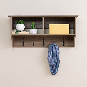 """Prepac 36"""" Wide Hanging Entryway Shelf, 36 inches, Drifted Gray"""