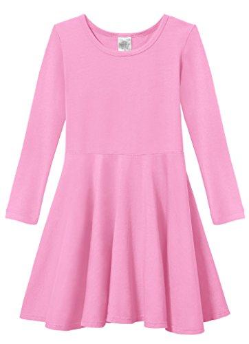 City Threads Little Girls' Super Soft Cotton Long Sleeve Twirly Skater Party Dress, Medium Pink, 4