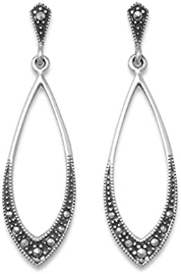 Silver Drop Earrings Screw Earrings Vintage Marcasite Drop Earrings 1930s Drop Earrings Marcasite Earrings Marcasite Drop Earrings