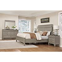 Roundhill Furniture B204KDMN2 York 204 Solid Wood Construction Bedroom Set with King Size Bed, Dresser, Mirror and 2 Night Stands