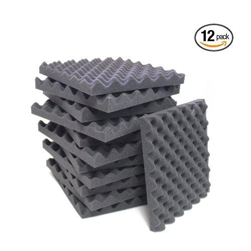 12 Pack Charcoal Eggcrate Acoustic Foam Sound Proof Foam Panels Noise Dampening Foam Studio Music Equipment 1.5'' x 12'' x 12'' by IZO All Supply