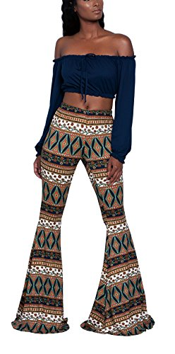 Women's Casual Stretch Floral Wide Leg Yoga Leggings Long Flared Palazzo Pants Small Viridis