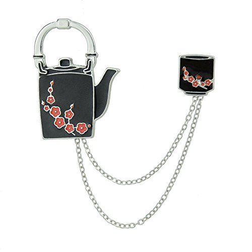 Latest Teapot And Cup Flower Shape Chain Collar Brooches