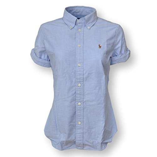 Polo Ralph Lauren Women's Short Sleeve Slim Fit Oxford Shirt, Blue, Medium