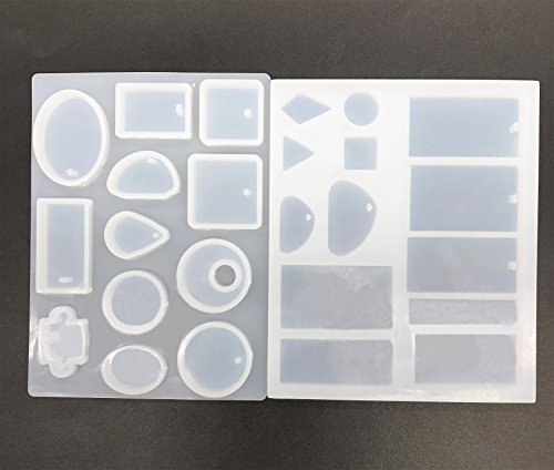 2 moldes de fundición de joyería, 25 estilos de colgante, moldes de resina con agujero para colgar para pendientes, gemas, colgante, llavero, manualidades, ...