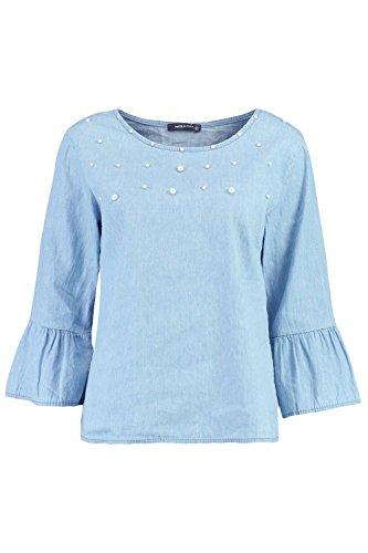 Boohoo Womens Pearl Embellished Denim Shirt in Blue size (Embellished Denim Shirt)