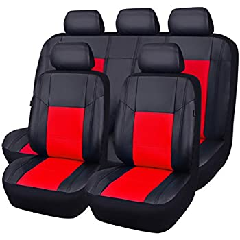 car pass pu leather universal car seat covers 11 piece spot black with red automotive. Black Bedroom Furniture Sets. Home Design Ideas
