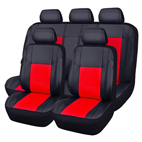 CAR PASS PU Leather Universal Car Seat Covers, 11 Piece, Spot Black with Red