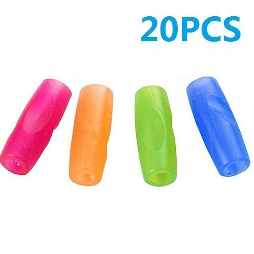 UDTEE 20PCS Pink/Orange/Green/Blue Color Rubber Material Pencil Grip, Universal Ergonomic Writing Aid, Assorted Colors