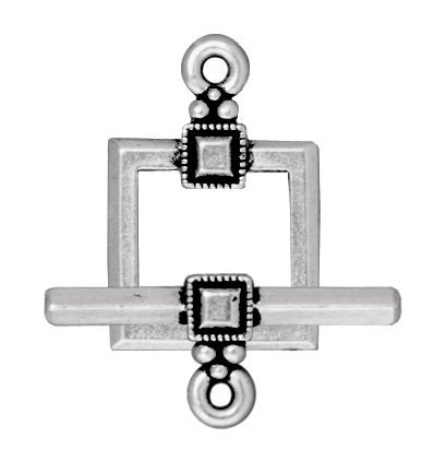 TierraCast Toggle Set Deco Square, 21mm, Antiqued Fine Silver Plated Pewter, 2-Sets/Pack (Square Toggle Clasps Silver Plated)