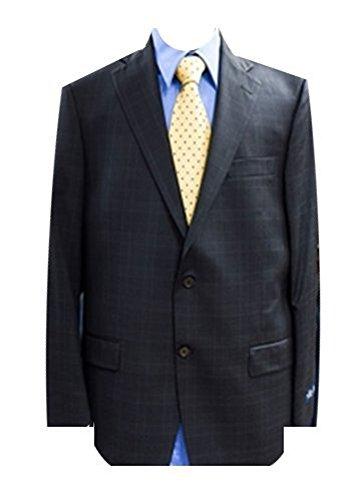 Hart Schaffner Marx Black Plaid Check Two Button Gold Trumpeter Men's Suit 44