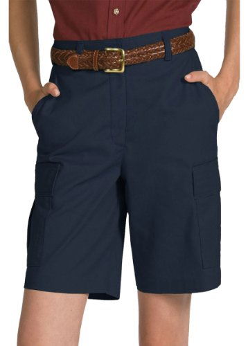 Ed Garments Women's Casual Chino Flat Front Cargo Short, NAVY, 10 by Edwards Garment