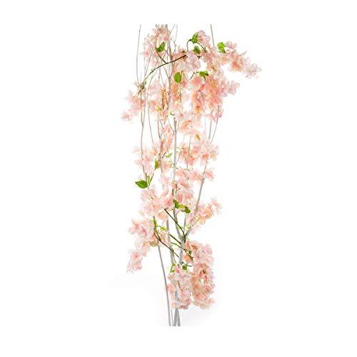 (Li Hua Cat Artificial Cherry Blossom Garland Simulation Plants Hanging Vine Silk Garland Wedding Party Decor 1 piece (Light pink))